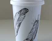Ceramic Travel Mug Black and White Feathers Hand Painted Porcelain Tumbler Illustrated Modern Nature woodland - Made to Order