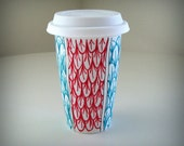 Ceramic Travel Mug Eco Cup Red Turquoise Scales Scallops Painted Nautical by sewZinski
