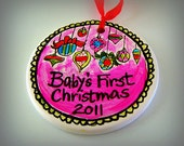 Ceramic Ornament Baby's First Christmas Painted Personalize Pink Red Green custom holiday memento