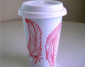 Ceramic Travel Mug Hand Painted Red Feathers Nature Woodland White Porcelain Tumbler - MADE TO ORDER