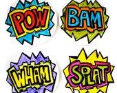Ceramic Coasters Set Painted Comic Book Sound Fx Geekery Super Hero  Round Circles