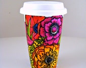 Ceramic Travel Mug Flowers Poppy Garden Spring Botanicals Nature Hand Painted Red Orange Purple Pink - Made to Order
