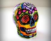 Sugar Skull Hand Painted Ceramic Day of the Dead Tattoo folk art sculpture dia de los muertos pink orange yellow purple - READY TO SHIP