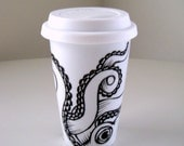 Octopus Ceramic Travel Mug Sea Creature Kraken Tentacles Black White Nautical Painted illustration - MADE TO ORDER