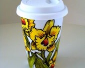 Ceramic Travel Mug Yellow Orchids Hand Painted Tropical Flowers Eco Friendly Botanicals to go cup - MADE TO ORDER