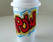 Ceramic Travel Mug Super Hero Comic Book Sound Fx Yellow Red Blue Geekery Kapow painted by sewZinski