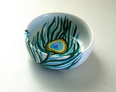 Ring Holder Peacock Feather Ceramic Dish Trinket Custom Wedding Bowl Jewelry Catcher bridal gift