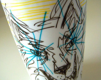 Wolf Travel Mug Ceramic Eco Coffee Cup Laser Eyes stripes yellow turquoise black white porcelain travel mug MADE TO ORDER -  by sewZinski