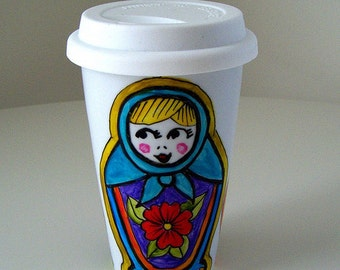 Ceramic Travel Mug Russian Dolls Hand Painted Matryoshka Folk Eco Cup Babushka Aqua blue red purple painted - MADE TO ORDER