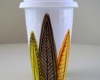 Ceramic Travel Mug Leaves Modern Woodland Painted Greens Yellow Orange Brown Nature - MADE TO ORDER