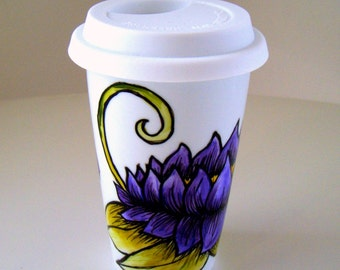 Ceramic Travel Mug Hand Painted Purple Lotus Flowers Green Leaves Folk Art Eco Friendly - MADE TO ORDER
