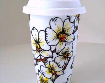 Ceramic Travel Mug White Orchids Tropical Flowers Hand Painted Eco Friendly Illustrated Botanicals - MADE TO ORDER
