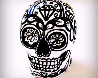 Ceramic Sugar Skull Black White Day of the Dead Tattoo dia de los muertos Mexican Folk Art Hand Painted by sewZinski - MADE TO ORDER