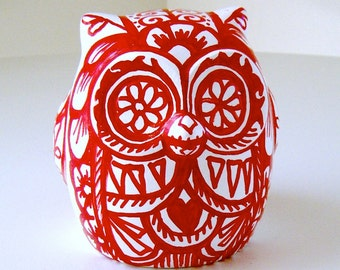 Ceramic Owl Decor Red White Day of the Dead Folk Art Bird Tattoo Animal Painted by sewZinski