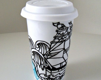 Ceramic Travel Mug Eco Friendly Ship Tattoo Nautical Sailor pirate black white Painted by sewZinski on Etsy