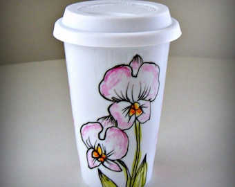 Ceramic Travel Mug Orchids Flowers Botanicals Nature Eco Friendly Painted Tropical pink blush green white yellow - MADE TO ORDER