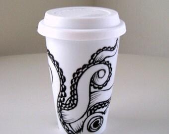 Octopus Ceramic Travel Mug Sea Creature Kraken Tentacles Black White Nautical Painted illustration - MADE TO ORDER