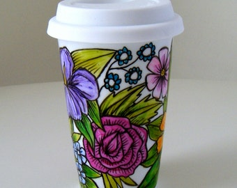 Ceramic Travel Mug English Garden Flowers Botanical Roses Daisies Iris nature hand painted Purple Red Green Pink - MADE TO ORDER