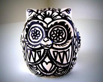 Ceramic Owl Black and White Day of the Dead Tattoo Flowers Folk Art Sculpture Animal Bird Paintedby sewZinski