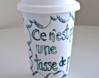 French Ceramic Travel Mug Eco Friendly Painted green stars clouds Coffee Cup Geekery white - MADE TO ORDER
