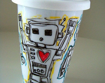 Ceramic Travel Mug Robot Painted Eco Friendly coffee cup with lid hearts Black White Red Blue Yellow Geekery by sewZinski