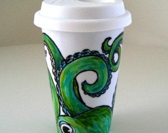 Green Octopus Ceramic Travel Mug Eco Friendly Tumbler sea creature hand painted tentacles kraken nautical - MADE TO ORDER
