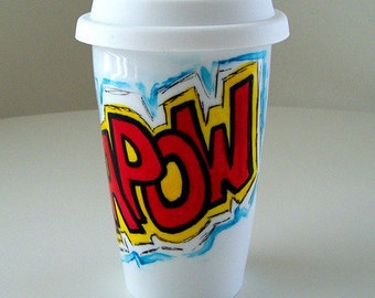 Ceramic Travel Mug Eco Friendly Comic Sound Fx Red Yellow Blue Black White Geekery Kapow painted - MADE TO ORDER