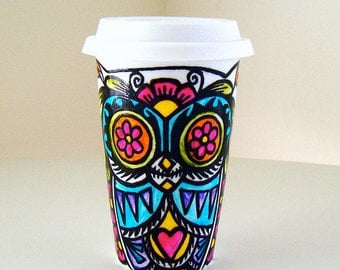 Ceramic Travel Mug Owl Day of the Dead Tribal Tattoo Folk Art hand painted sugar skull Dia de los muertos porcelain tumbler