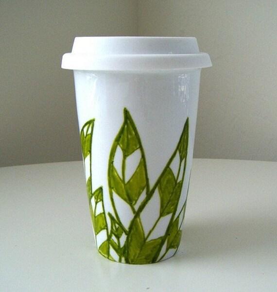 Ceramic Travel Mug Eco Friendly Green Leaves White Modern Painted handmade by sewZinski on Etsy