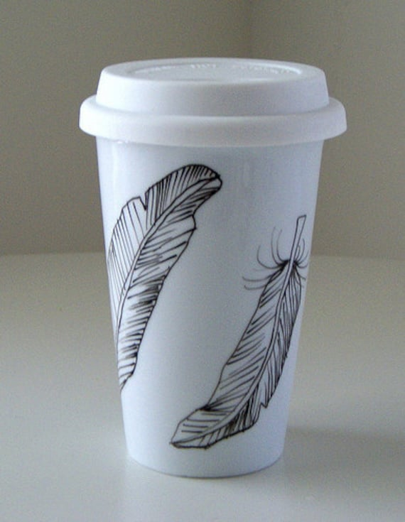 Ceramic Travel Mug Black and White Feathers Hand Painted Porcelain Tumbler Illustrated Modern Nature woodland - Made to Order