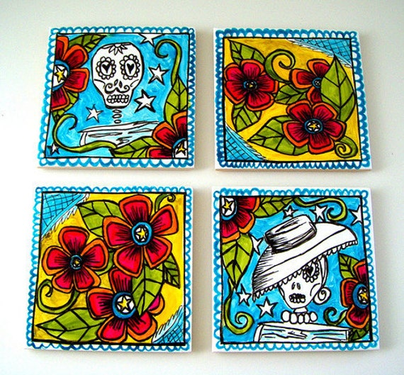 Day of the Dead Folk Art Tiles Ceramic Coasters Turquoise Blue Yellow Red Sugar Skulls Hand Painted
