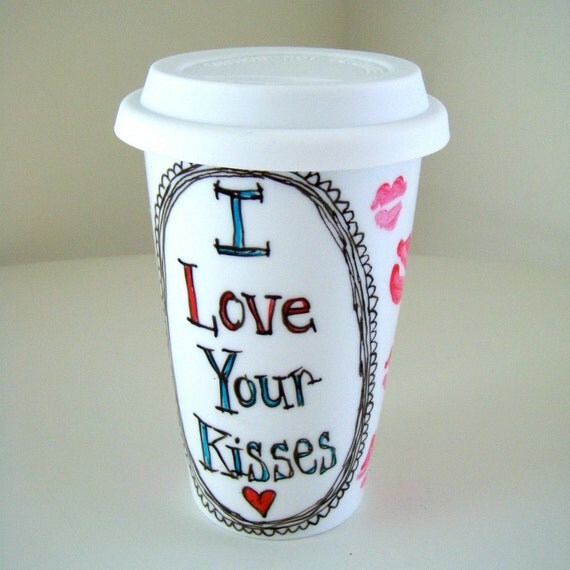 Ceramic Travel Mug Valentine's Day Hand Painted Kisses Love Lips Kiss Romantic Red Black White Pink Blue - Made to Order