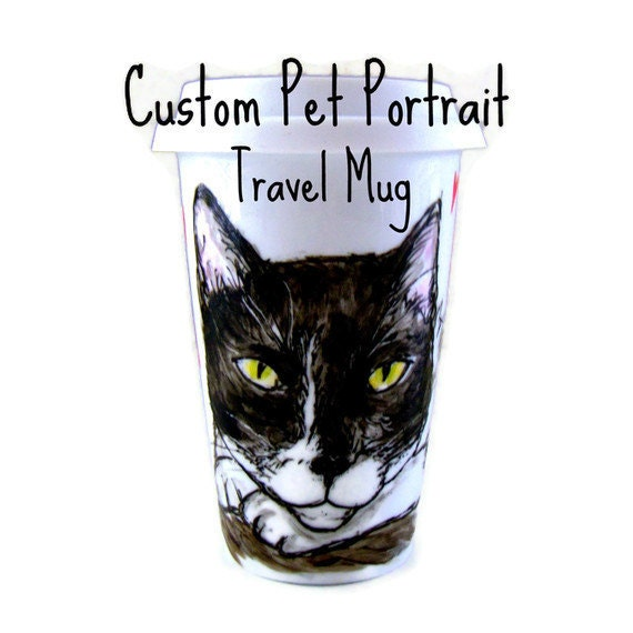 Pet Portrait Ceramic Travel Mug Hand Painted Custom Personalized Cats Dogs Puppy Kitten Animals - Made to Order
