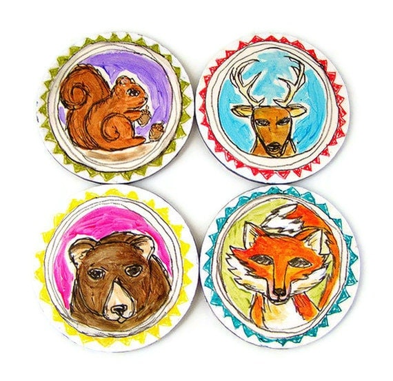 Round Art Tiles Ceramic Coasters Woodland Animal Fox Deer Bear Squirrel Painted round Triangles Spring Home Decor
