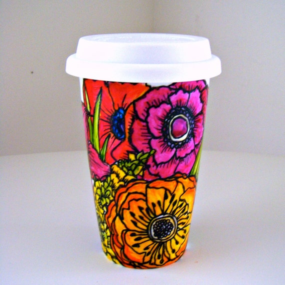 Ceramic Travel Mug Flowers Poppy Garden Spring Botanicals Nature Hand Painted Red Orange Purple Pink - Ready to ship