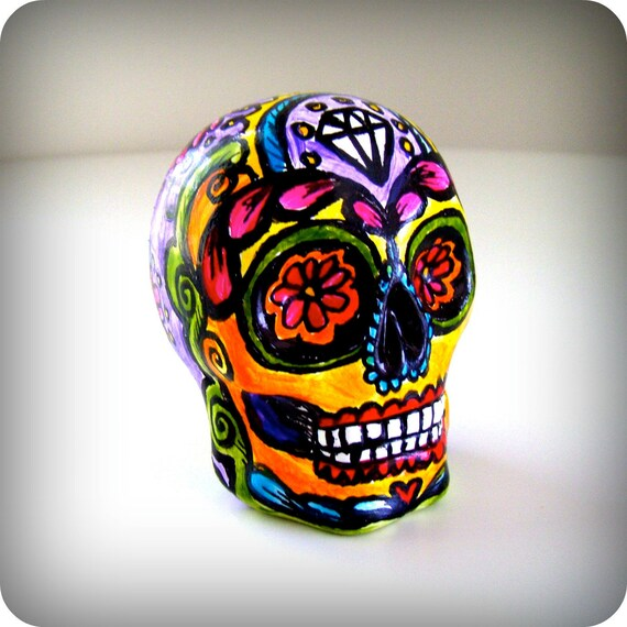 Sugar Skull Hand Painted Ceramic Day of the Dead Tattoo folk art sculpture dia de los muertos pink orange yellow purple - READY TO SHIP
