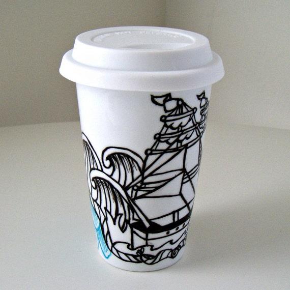 Ceramic Travel Mug Eco Friendly Ship Tattoo Nautical By