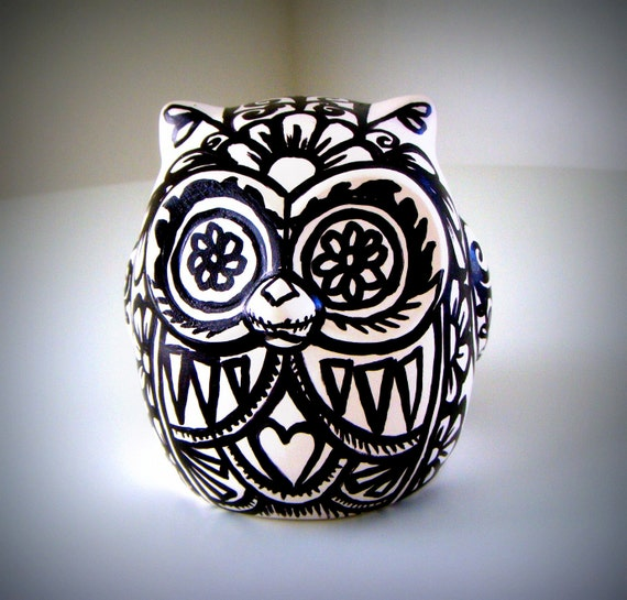 Ceramic Owl Black and White Day of the Dead Tattoo Flowers Folk Art Sculpture Animal Bird Paintedby sewZinski