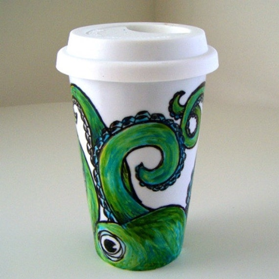 Ceramic Travel Mug Painted Octopus Green Eco Friendly sea creature tentacles kraken - MADE TO ORDER