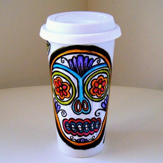 Ceramic Travel Mug 16 oz Coffee Tumbler Sugar Skull Folk Art Day of the Dead Hand Painted Dia de los muertos Flowers - MADE TO ORDER