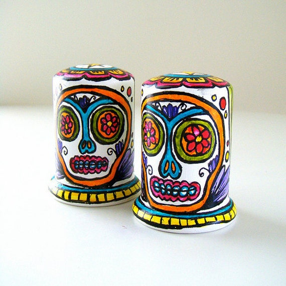Sugar Skulls Salt and Pepper Shakers Ceramic Hand Painted Day of the Dead Folk Art Tabletop Pink Green Turquoise Yellow - Made to Order