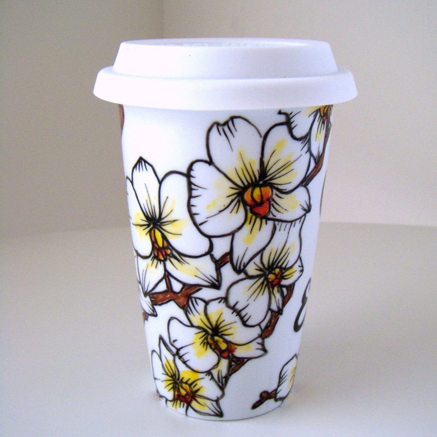 Ceramic travel mug white orchids tropical flowers by sewzinski for How to paint ceramic mugs at home