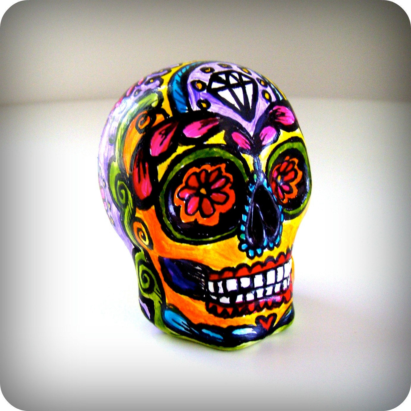 Day Of The Dead Hand Tattoo: Sugar Skull Hand Painted Ceramic Day Of The Dead By SewZinski