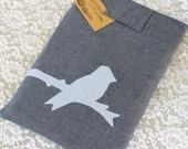 """Laptop Sleeve for 13"""" Macbook - Baby Sky Blue and Gray with Handmade Bird Applique eco friendly"""
