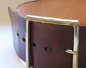 leather belt NEAT wide with silver aleation buckle