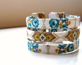 Triple srand cuff bracelet in 1950s boho roses print MADE TO ORDER