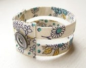 Cuff bracelet vintage fabric in golden turquoise floral double strand