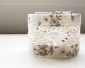 Double strand cuff bracelet in taupe floral and crocheted lace READY TO SHIP