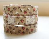 Fabric cuff bracelet vintage autumn floral and lace