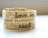 Fabric cuff bracelet mustard floral embroidered love is real